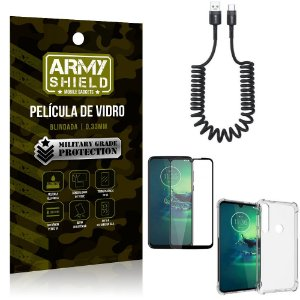 Cabo Espiral Moto G8 Play + Capinha Anti Impacto + Película 3D - Armyshield