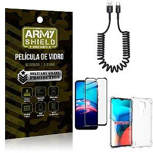Cabo Espiral Moto E7 + Capinha Anti Impacto + Película 3D - Armyshield