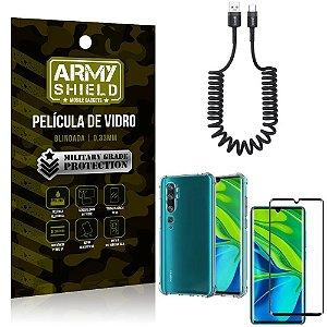 Cabo Espiral Mi Note 10 - Note 10 Pro + Capinha Anti Impacto + Película 3D - Armyshield