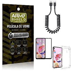 Cabo Espiral LG K51s + Capinha Anti Impacto + Película 3D - Armyshield