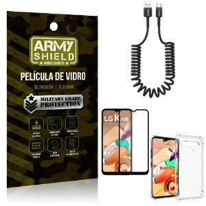 Cabo Espiral LG K41s + Capinha Anti Impacto + Película 3D - Armyshield