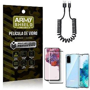 Cabo Espiral Samsung S20 + Capinha Anti Impacto + Película 3D - Armyshield