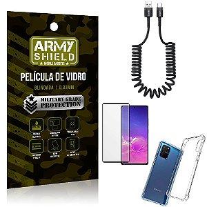 Cabo Espiral Samsung S10 Lite + Capinha Anti Impacto + Película 3D - Armyshield