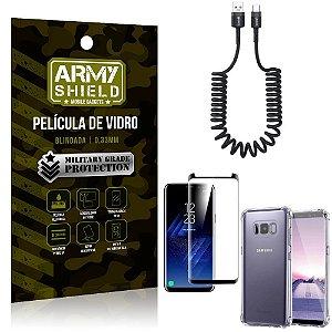 Cabo Espiral Samsung S8 Plus + Capinha Anti Impacto + Película 3D - Armyshield