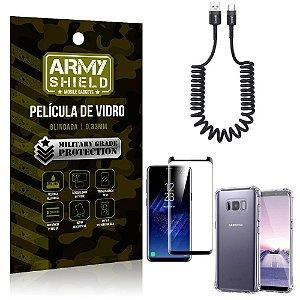 Cabo Espiral Samsung S8 + Capinha Anti Impacto + Película 3D - Armyshield