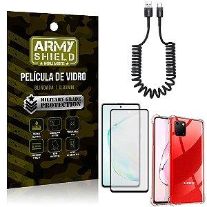 Cabo Espiral Samsung Note 10 Lite + Capinha Anti Impacto + Película 3D - Armyshield