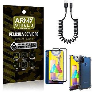 Cabo Espiral Samsung M31 + Capinha Anti Impacto + Película 3D - Armyshield