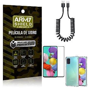 Cabo Espiral Samsung A51 + Capinha Anti Impacto + Película 3D - Armyshield