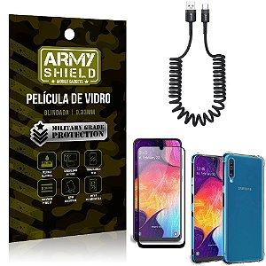 Cabo Espiral Samsung A50 + Capinha Anti Impacto + Película 3D - Armyshield