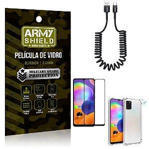 Cabo Espiral Samsung A31 + Capinha Anti Impacto + Película 3D - Armyshield