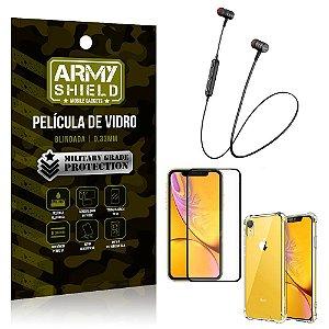 Fone Bluetooth HS-615 iPhone XR 6.1 + Capinha Anti Impacto + Película 3D - Armyshield