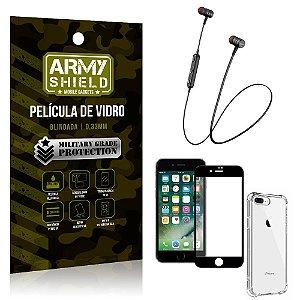 Fone Bluetooth HS-615 iPhone 8 Plus + Capinha Anti Impacto + Película 3D - Armyshield