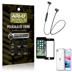 Fone Bluetooth HS-615 iPhone SE 2020 + Capinha Anti Impacto + Película 3D - Armyshield