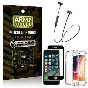 Fone Bluetooth HS-615 iPhone 7 + Capinha Anti Impacto + Película 3D - Armyshield