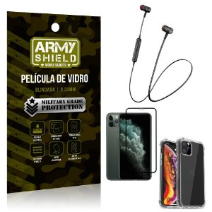 Fone Bluetooth HS-615 iPhone 11 Pro Max 6.5 + Capinha Anti Impacto + Película 3D - Armyshield