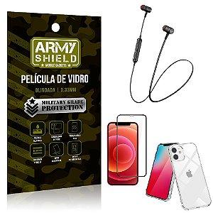 Fone Bluetooth HS-615 iPhone 12 6.1 + Capinha Anti Impacto + Película 3D - Armyshield