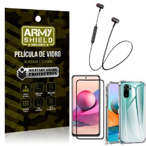 Fone Bluetooth HS-615 Redmi Note 10S + Capinha Anti Impacto + Película 3D - Armyshield