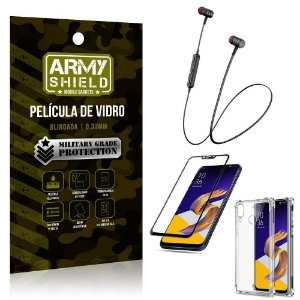 Fone Bluetooth HS-615 Zenfone 5Z ZS620KL + Capinha Anti Impacto + Película 3D - Armyshield