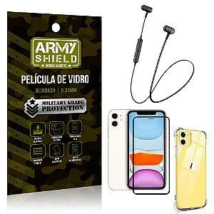 Fone Bluetooth HS-615 iPhone 11 6.1 + Capinha Anti Impacto + Película 3D - Armyshield