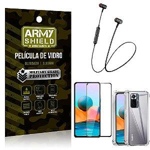 Fone Bluetooth HS-615 Redmi Note 10 Pro + Capinha Anti Impacto + Película 3D - Armyshield