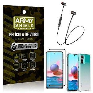 Fone Bluetooth HS-615 Redmi Note 10 + Capinha Anti Impacto + Película 3D - Armyshield