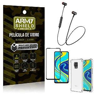 Fone Bluetooth HS-615 Redmi Note 9 Pro + Capinha Anti Impacto + Película 3D - Armyshield