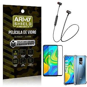 Fone Bluetooth HS-615 Redmi Note 9 + Capinha Anti Impacto + Película 3D - Armyshield