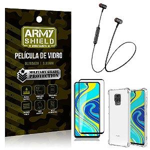 Fone Bluetooth HS-615 Redmi Note 9S + Capinha Anti Impacto + Película 3D - Armyshield