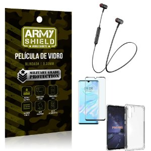 Fone Bluetooth HS-615 Huawei P30 Pro + Capinha Anti Impacto + Película 3D - Armyshield
