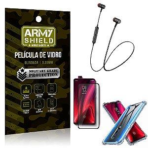 Fone Bluetooth HS-615 Redmi K20 Mi 9T + Capinha Anti Impacto + Película 3D - Armyshield