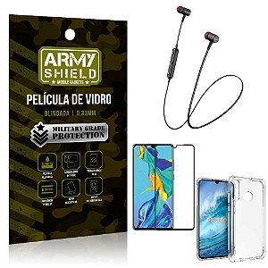 Fone Bluetooth HS-615 Huawei P30 Lite + Capinha Anti Impacto + Película 3D - Armyshield