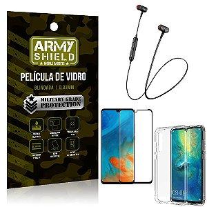 Fone Bluetooth HS-615 Huawei P30 + Capinha Anti Impacto + Película 3D - Armyshield