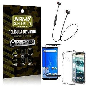 Fone Bluetooth HS-615 Moto One + Capinha Anti Impacto + Película 3D - Armyshield