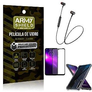 Fone Bluetooth HS-615 Moto One Macro + Capinha Anti Impacto + Película 3D - Armyshield