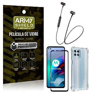 Fone Bluetooth HS-615 Moto G100 5G + Capinha Anti Impacto + Película 3D - Armyshield