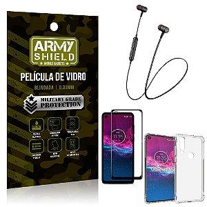 Fone Bluetooth HS-615 Moto One Action + Capinha Anti Impacto + Película 3D - Armyshield