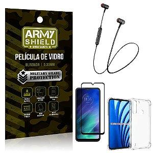 Fone Bluetooth HS-615 Moto One Fusion + Capinha Anti Impacto + Película 3D - Armyshield