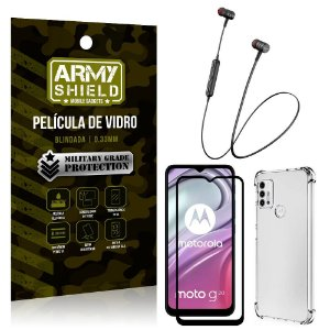 Fone Bluetooth HS-615 Moto G20 + Capinha Anti Impacto + Película 3D - Armyshield
