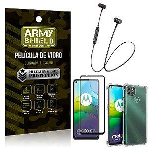 Fone Bluetooth HS-615 Moto G9 Power + Capinha Anti Impacto + Película 3D - Armyshield