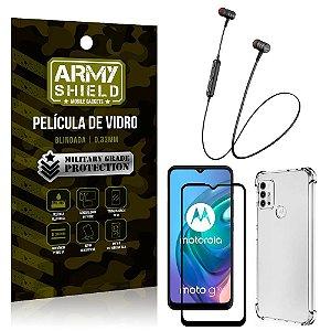 Fone Bluetooth HS-615 Moto G10 + Capinha Anti Impacto + Película 3D - Armyshield