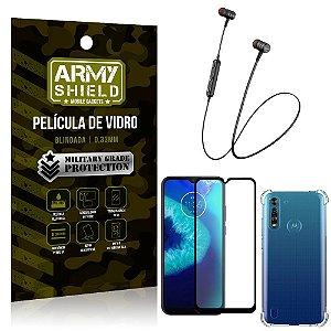 Fone Bluetooth HS-615 Moto G8 Power Lite + Capinha Anti Impacto + Película 3D - Armyshield
