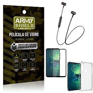 Fone Bluetooth HS-615 Moto G8 Play + Capinha Anti Impacto + Película 3D - Armyshield