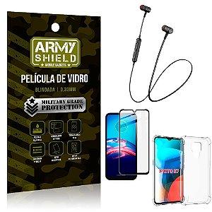 Fone Bluetooth HS-615 Moto E7 + Capinha Anti Impacto + Película 3D - Armyshield
