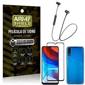 Fone Bluetooth HS-615 Moto E7 Power + Capinha Anti Impacto + Película 3D - Armyshield