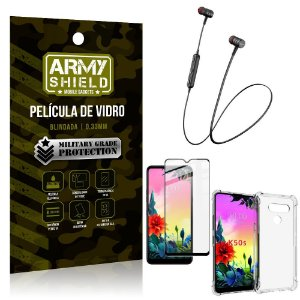 Fone Bluetooth HS-615 LG K50s + Capinha Anti Impacto + Película 3D - Armyshield