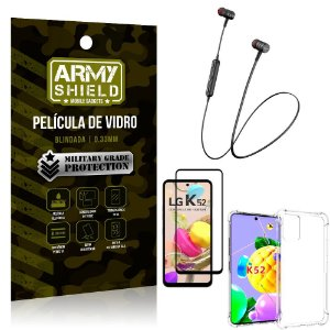 Fone Bluetooth HS-615 LG K52 + Capinha Anti Impacto + Película 3D - Armyshield