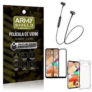 Fone Bluetooth HS-615 LG K41s + Capinha Anti Impacto + Película 3D - Armyshield