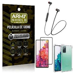 Fone Bluetooth HS-615 Samsung S20 FE + Capinha Anti Impacto + Película 3D - Armyshield