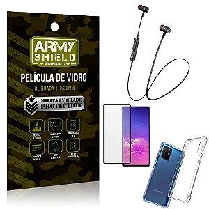 Fone Bluetooth HS-615 Samsung S10 Lite + Capinha Anti Impacto + Película 3D - Armyshield