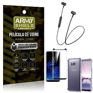 Fone Bluetooth HS-615 Samsung S8 Plus + Capinha Anti Impacto + Película 3D - Armyshield
